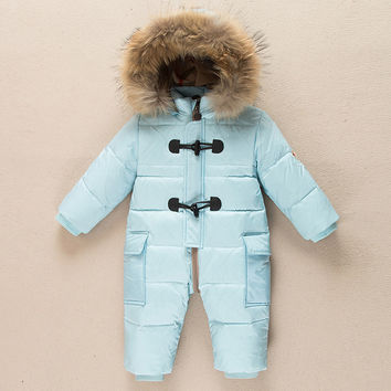 russia Winter -20 degrees 90% White Duck down baby jumpsuit  newborn thicken clothes baby rompers infant snowsuit 7-24 month