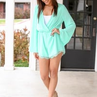 All Eyes on Me Romper - Mint