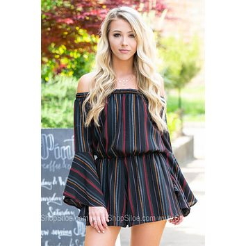 Bell Sleeve Off Shoulder Striped Romper