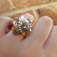 Steampunk ring, gold steampunk ring, watch gear ring, filigree ring, crystal OOAK ring