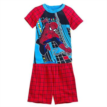 Licensed cool Marvel Spider-man PJ Pals Short Set Pajamas for Boys 2 PC Disney STORE SZ 4-5