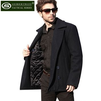 New Men's Woolen coat US Navy Type 80% Wool USN Pea Coat Leisure jacket Wool Blends Black Blue