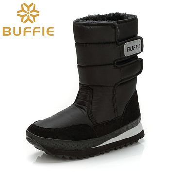 Men shoes Winter Boots Shoe Solid Black Snow Boots Plus size 36 to Big 47 Brand style warm male booties free shipping best sell