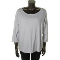 Eileen Fisher Womens Plus Cotton 3/4 Sleeves Pullover Top