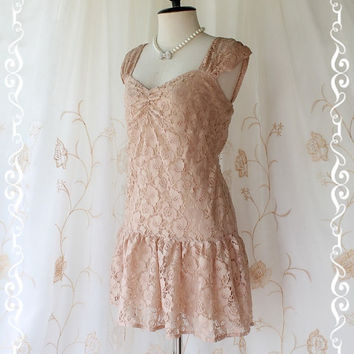 Chilling Day - Sweet Lovely Long Tunic Cream Beige Nude Lace Color  Romantic Beautiful Charming Long Tunic