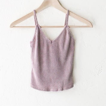 Knit V-neck Cami Crop Top - Dusty Pink