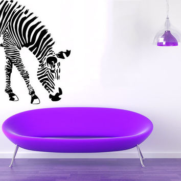 Jungle Safari Wild Animals Wall Decals Zebra Eating Vinyl Sticker Decal Home Interior Design Living Room Art Mural Dorm Bedroom Decor KG883