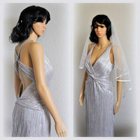 Harlow Empire Silver Gown Backless Dress Metallic Gown Vintage inspired Grecian Bridal Gown Prom Rehearsal Dinner Dress Red Carpet Size Med