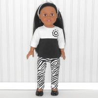 18 inch Doll Black and White Top and Zebra Stripe Leggings American Doll Clothes