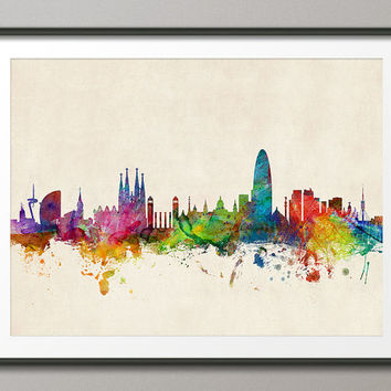 Barcelona Spain Skyline, Art Print (979)