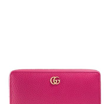 Gucci Petite Marmont Leather Zip Around Wallet | Nordstrom