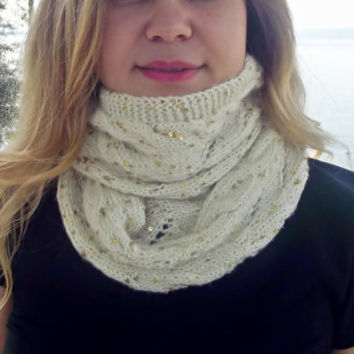 Galaxy Scarf, Sequin Scarf Handknit infinity Scarf, Women Scarves, Knitted scarf, Winter Accessories, Outfits