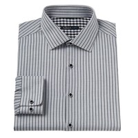 Van Heusen Studio Slim-Fit Pinstriped Wrinkle-Free Spread-Collar Dress Shirt - Men, Size:
