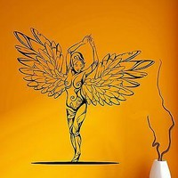 Wall Decal Sexy Girl Nude Angel Wings Beauty Pattern Vinyl Stickers Unique Gift (ed109)