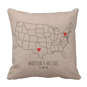 Custom couple USA state map names & date heart map Throw Pillow