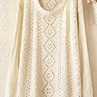 Round neck long sleeve diamond hollow-out sweater from Fanewant