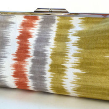 Framed Clutch Purse Gray Rust Gold Ikat