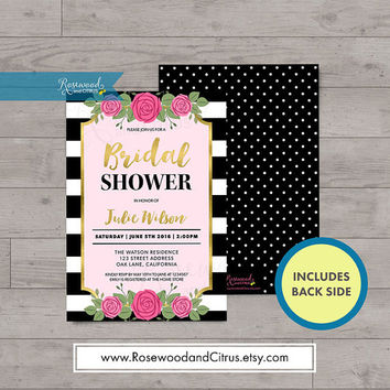 Floral Bridal Shower Invitation, Bridal Brunch Invitation, Faux Gold Bridal Shower Invites, Stripes Bridal Shower Printable