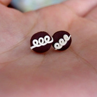 Hostess Cupcake Studs by SimplyEncharming on Etsy