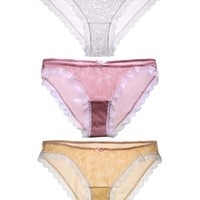 Pretty Panty 3-Pack Gift Set in Apricot White Rose