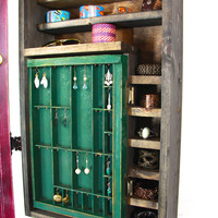 Distressed Maroon Jewelry Organizer and Display... Handmade by TangleandFold