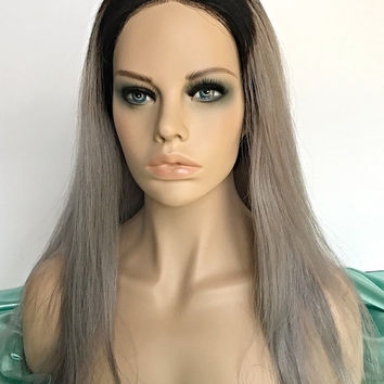 18in grey ombre full lace human hair wig