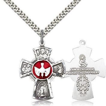 ".925 Sterling Silver Four Way Cross Necklace For Men On 24"" Chain - 30 Day Mo... 617759769135"