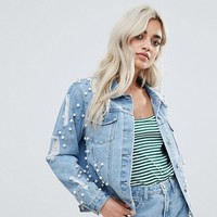 Glamorous Petite Allover Embellished Denim Jacket at asos.com