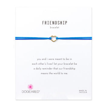 Small Open Heart Blue Friendship Bracelet, Gold Dipped | Dogeared