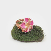 Flower ring, wire wrapped flower ring, size 7 ring, wire weave ring, pink flower ring, frangipani flower ring, spring flower jewelry