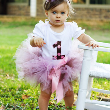 Baby girls first birthday outfit-  Customized Pink and chocolate brown polka dot birthday tutu outfit -LIMITED EDITION