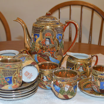 Stunning vintage Japanese gold decorated tea/coffee set/handpainted gilding/gold lined coffee cans 6 settings/UK seller