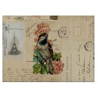 Vintage Bird Flowers French Postcards