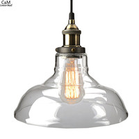 Clear Glass Pendant Light, Copper Hanging Lights Bulbs For Home Decor Restaurant  Light With Light Bulb