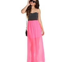 Sale- Pink Sweet Sting Striped Maxi Dress