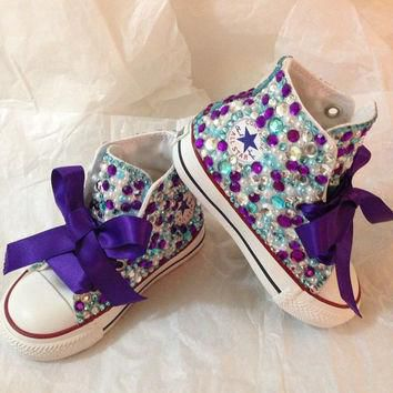 Rhinestone and pearl kids converse