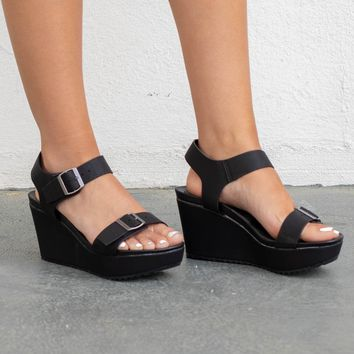 Special Kind Black Double Strap Platforms