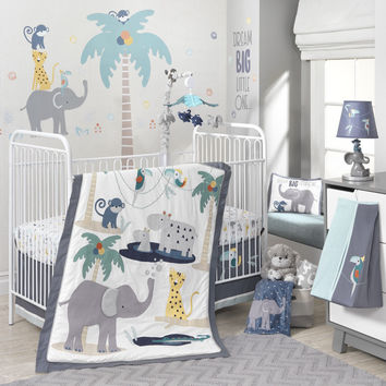 Lambs & Ivy Animal Crackers 6 Piece Baby Crib Bedding Set with Bumper & Mobile-1 Each