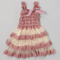 Royal Gem Mauve & Tan Lace Ruffle Tiered Dress - Infant, Toddler & Girls | zulily