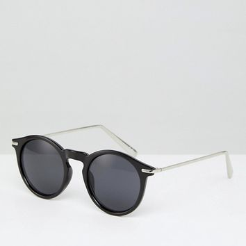 ASOS Round Sunglasses With Metal Arms In Shiny Black at asos.com