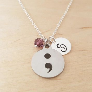 Semicolon Charm - Personalized Sterling Silver Necklace
