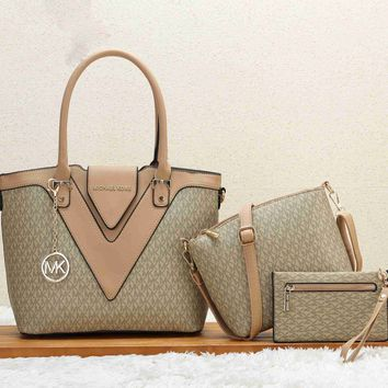 MICHAEL KORS MK New fashion pattern print shopping leather women shoulder bag handbag three piece bag Khaki