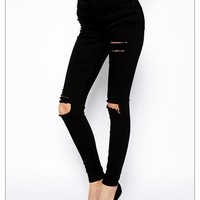 New Fashion Women's 2016 Denim Female High Waist Knee Ripped Black Stretch Skinny Jeans For Woman Female Denim Pencil Pants