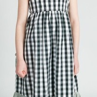 Surfanic Girls Gingham Dress Marl Trim Black