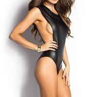 Rhiannon Black Sleeveless Open Side Pleather Bodysuit