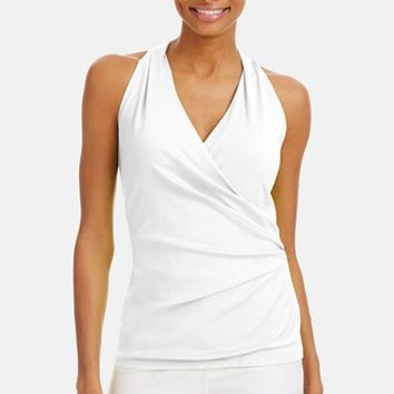 Women's Lafayette 148 New York Shirred Faux Wrap Top,