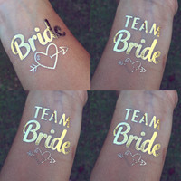 PRE -  ORDER**     Ships 8/12/15**     14 Team Bride + 2 Bride **    Bachelorette Team Bride & Bride Gold Temporary Tattoos - SHIPS 8/12/15