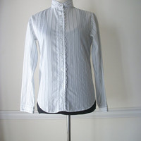 Vintage Striped Long Sleeve 1970's Casual Button Up Top