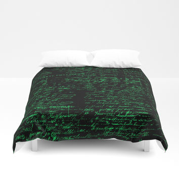 Vintage Handwriting Duvet Cover by Berwies