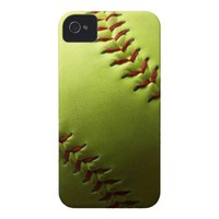 Yellow Softball Case-Mate iPhone 4 Cases from Zazzle.com